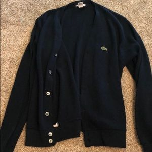 Lacoste navy wool cardigan